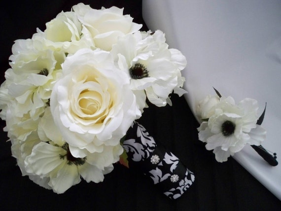 Damask Bouquet with Cream/white Roses and Silk Anemones
