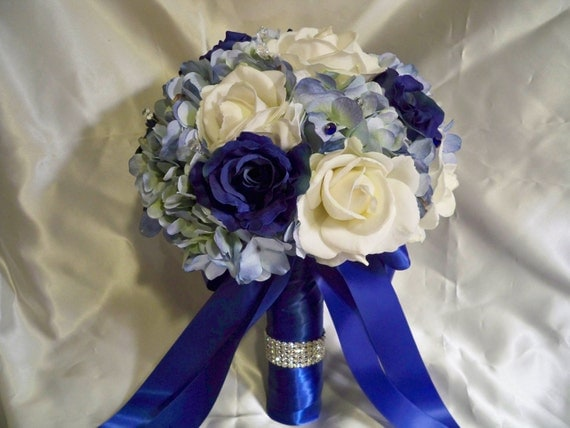 Free Shipping this Weekend......Something Blue Bridal Bouquet Set