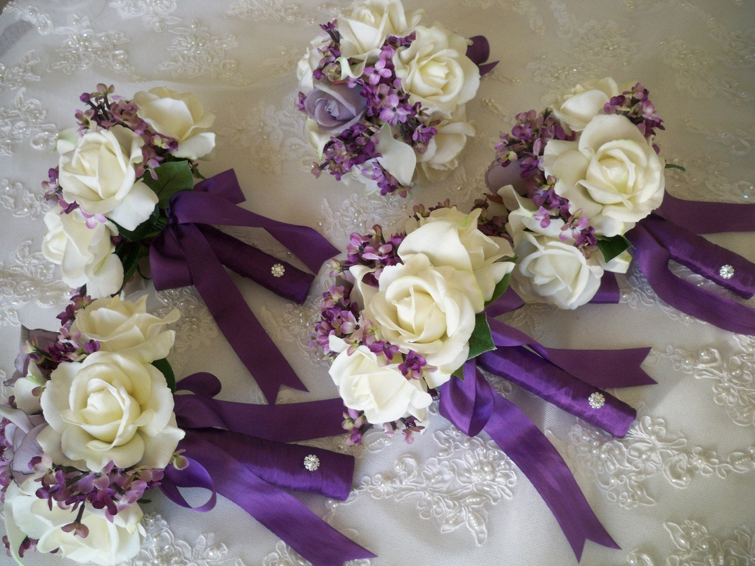 to silk flower bouquet of silk lilacs and realtouch rose bridal
