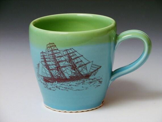 Ship, Boat Mug /Aqua Pottery