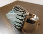 Large Blue Fluorite Silver Ring 25% off SALE with Coupon Code SALE1