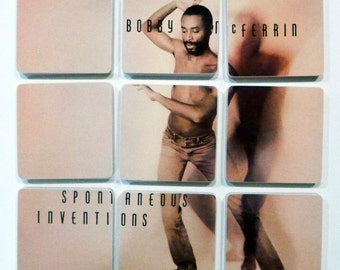 Bobby McFerrin recycled Spontaneous Inventions music album wood based coasters and wacky vinyl bowl