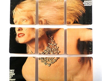 The Edgar Winter Group wood coasters and warped record bowl, recycled They Only Come Out at Night music album