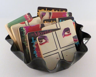 The Motels recycled All Four One album cover wood coasters with record bowl