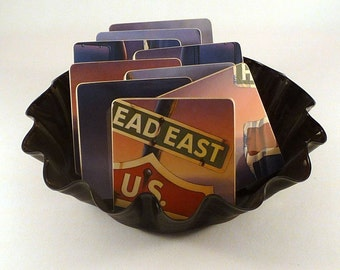 HEAD EAST recycled Head East Live album art cover coasters with wacky vinyl record bowl