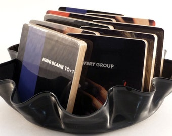 The Ian Lowery Group recycled handcrafted wood coasters from the King Blank To album with warped vinyl record bowl