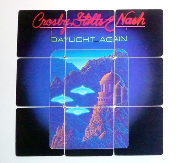 CROSBY - STILLS - NASH Recycled Album Coasters with Record Bowl