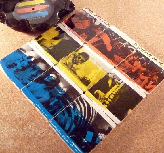 THE POLICE Recycled Album Art Coasters and Warped LP Basket