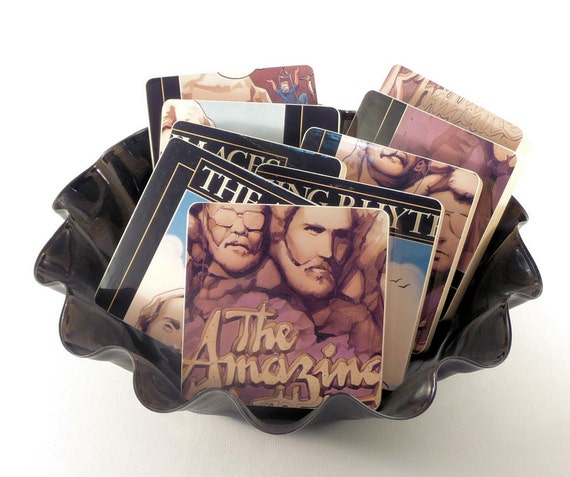 The AMAZING RHYTHM ACES upcycled album art cover coasters with record bowl