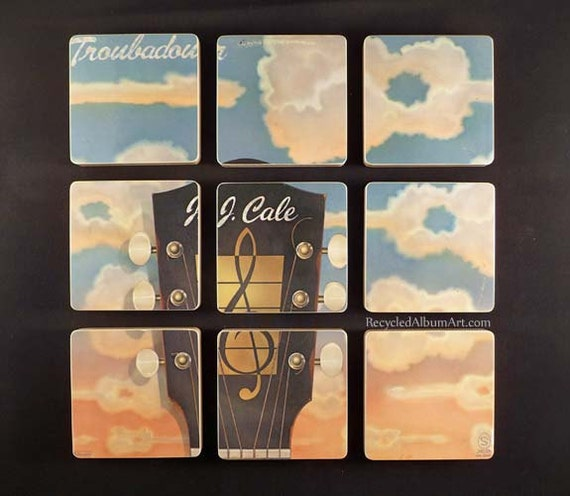 J.J. CALE - Recycled Record Album Coaster Set created from the Troubadour Lp