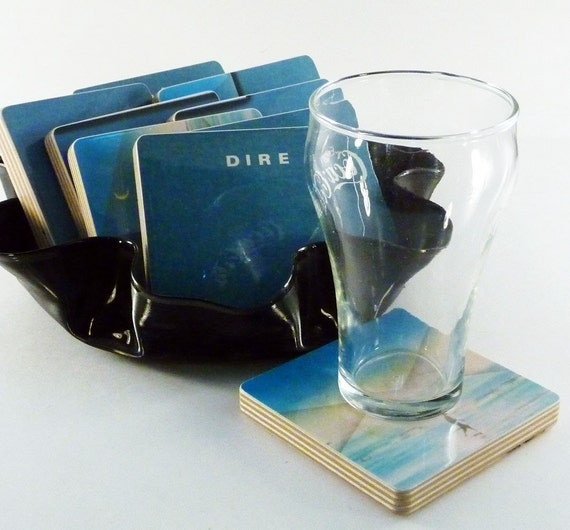 Dire Straits re-purposed Communique album sleeve coasters and warped record bowl