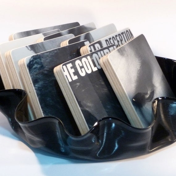 THE COLOURFIELD recycled Deception album cover coasters with record bowl