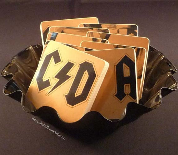 Record Album Coaster Set created from the 1981 AC/DC Record Album