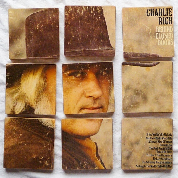 "CHARLIE RICH   Album Jacket Coasters and ""Behind Closed Doors"" Wacky Record Bowl"