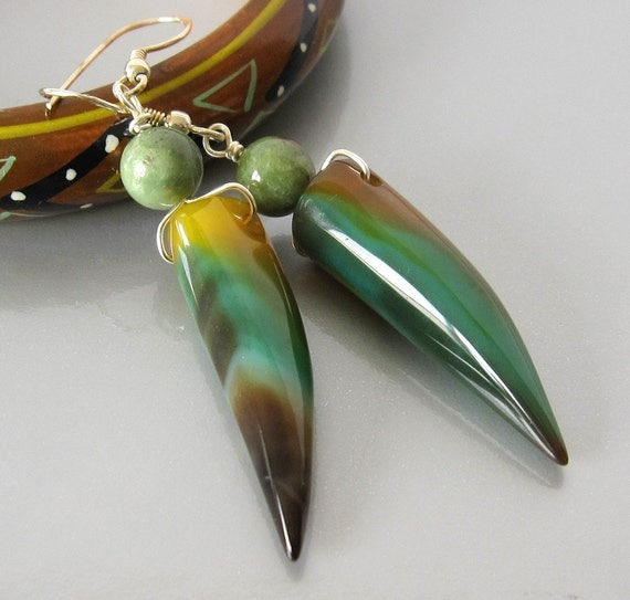 Horn shaped green and yellow Agate earrings