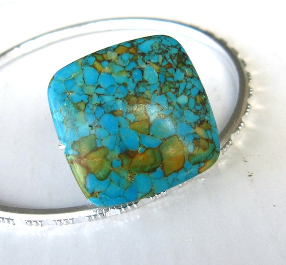 Wire wrap Ring square blue crushed agate