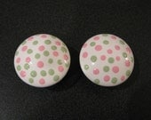 Hand painted Drawer Knobs Pink and Green polka dots