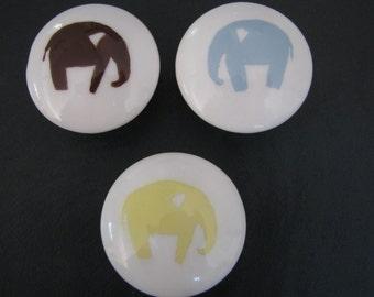 Hand Painted Drawer Knob Elephants