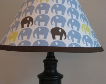 Blue and Brown Elephants lamp shade
