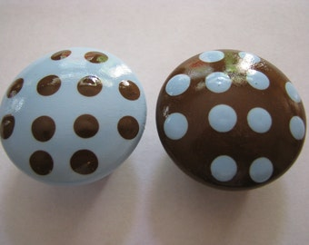 Blue and chocolate brown polka dot drawer knob hand painted