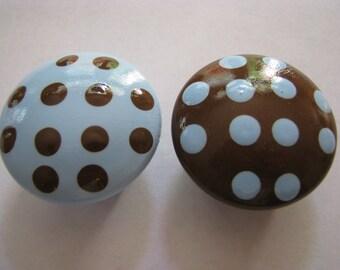 Blue and chocolate brown polka dot drawer knob hand painted