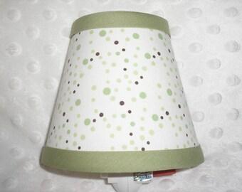 Lamp Shade Green And Chocolate Brown Polka Dots