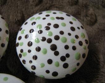 Drawer knob green and brown polka dots
