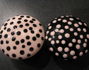 drawer knobs Pink and Black Polka Dot drawer knob