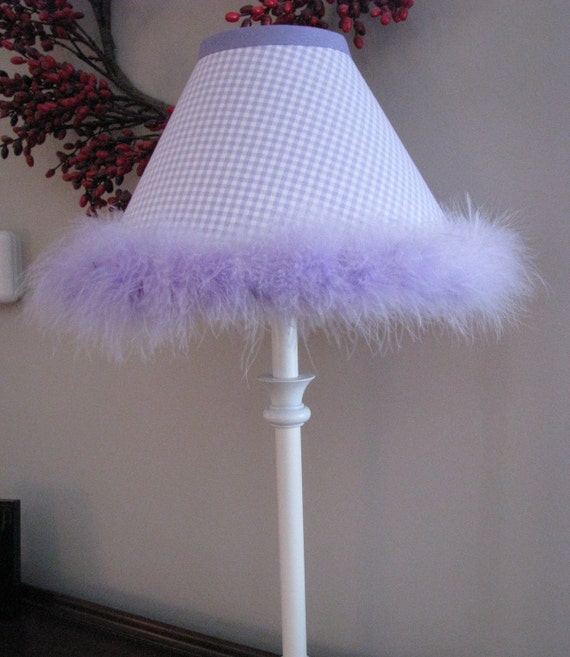 Lavender Gingham lamp shade with lavender ostrich feathers Girls room nursery