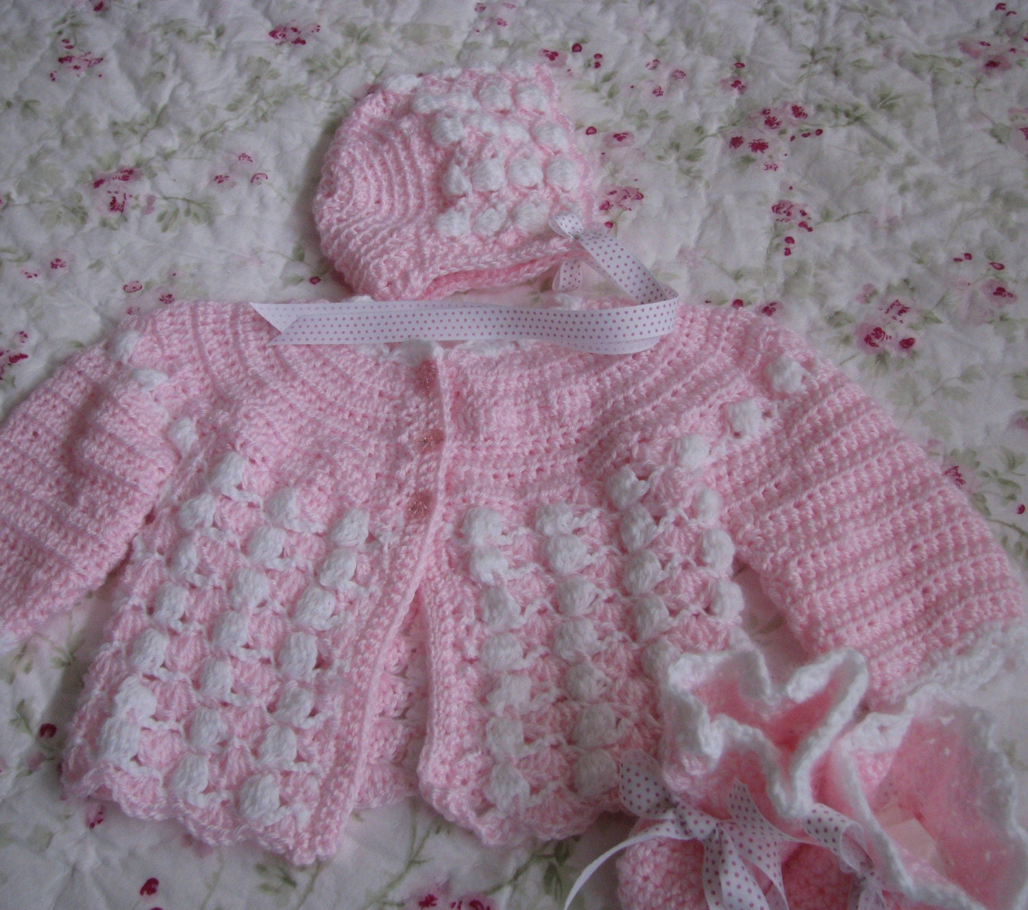 Pink Newborn Baby Girl Sweater Set Hat Booties 3 Piece Set