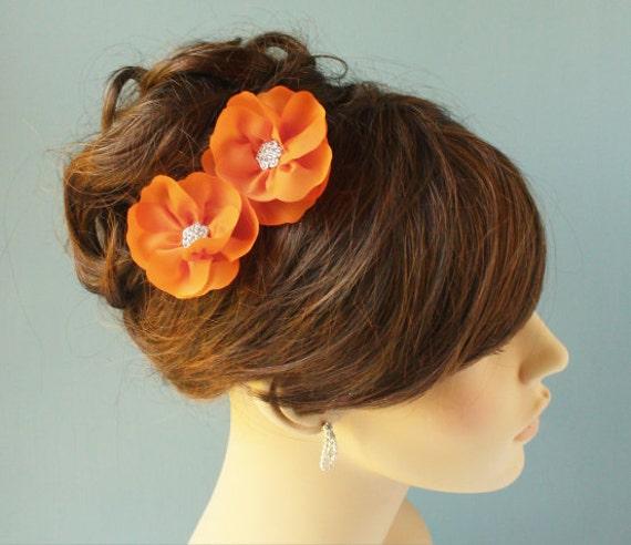 Tangerine Orange double blossomed hair pins