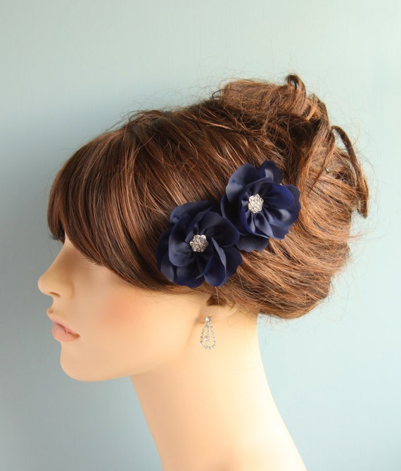 Navy Blue double fascinator blossoms