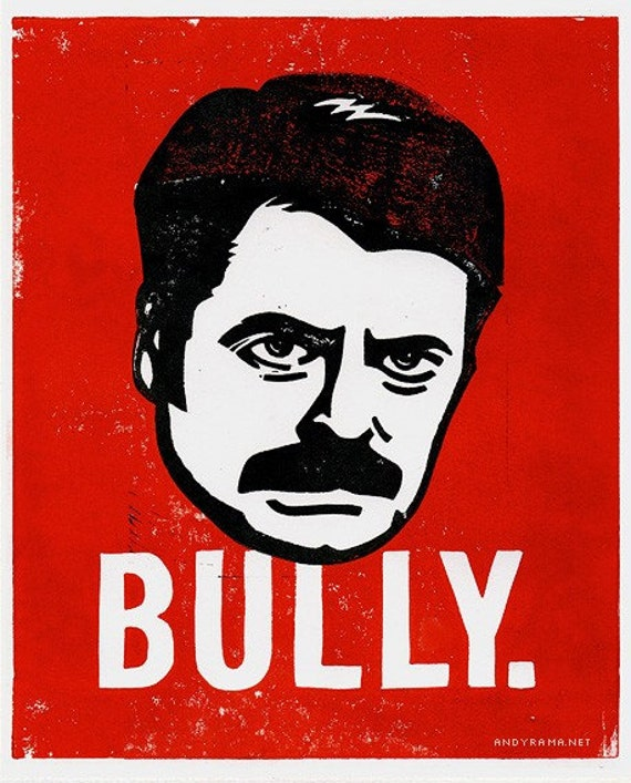 RON SWANSON from Parks & Recreation Lino Cut Print. BULLY.