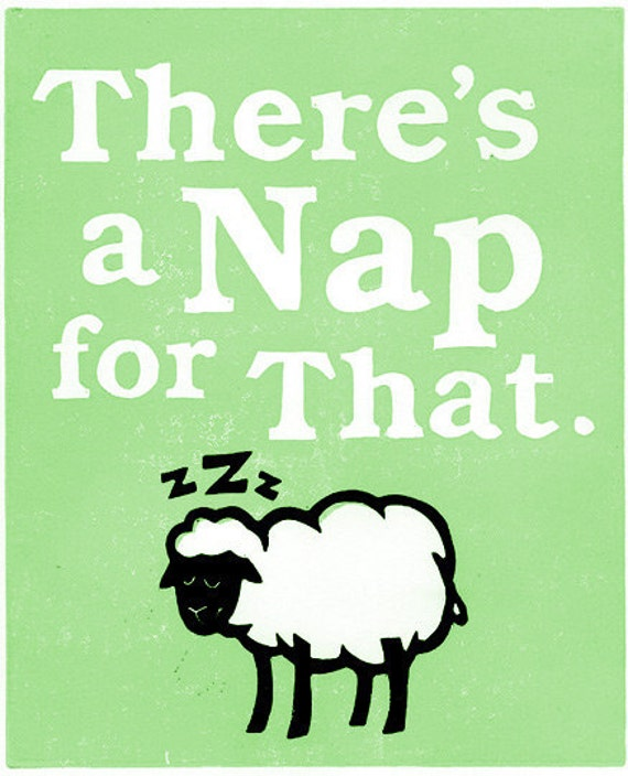 "Sleepy Sheep 8x10"" Lino Block Print - There's a NAP for That - Green, Pink or Blue"