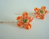 Shabby Fabric Flower Hair Pins - Set of 2
