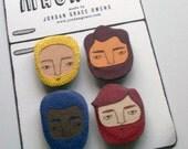 bearded boys magnet set