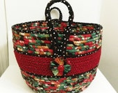 Large Fabric Coiled Basket in Red/Black/Green