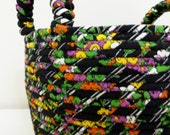 Large Fabric Coiled Basket in Black and Multi-Color
