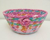 Small Fabric Coiled Bowl/Basket in Pretty Spring Colors