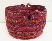 Large Fabric Coiled Basket in Berry/Tangerine Colors