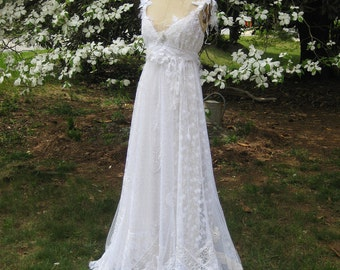 Hippie Lace Collage Gown, One of a Kind, Boho Wedding Dress, Beach Wedding Dress, Hippie Wedding Dress, Lace wedding Dress, made to order