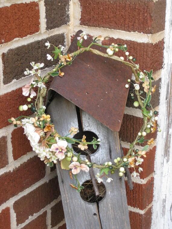 Viney Garden Wreath vintage sienna velvet flowers and pink Pansies