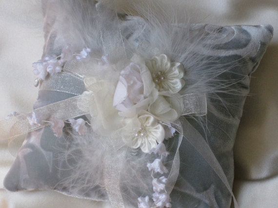 Reserved for Angela Sage Velvet Ivory Flowery Feathery  Ring Pillow