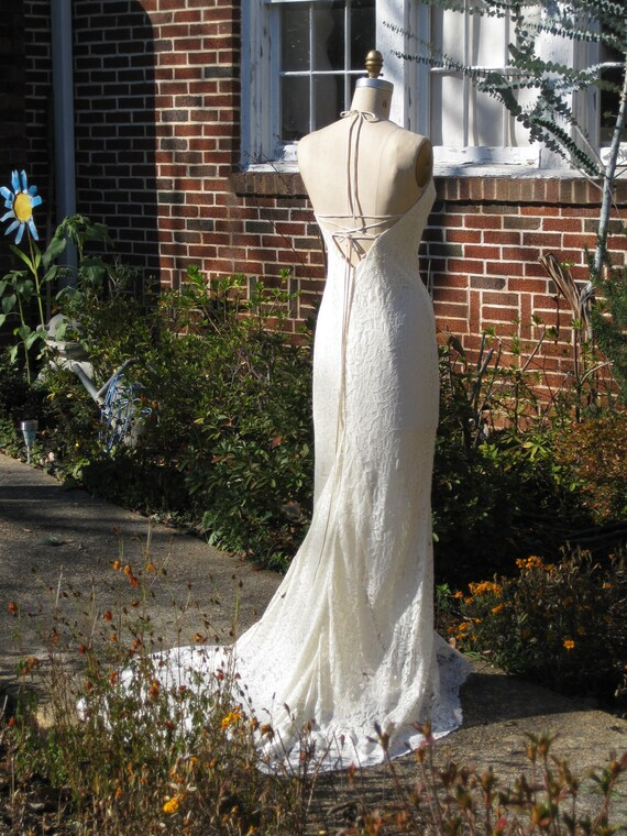 Creme Lace and Silk Charmeuse Bias Cut Gown one of a kind Reserved for kezeigler