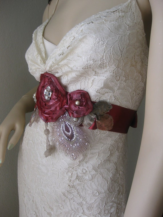 Wedding Gown Sash Red Roses and Rhinestones Lace Peacock  Feathers Vintage Velvet Leaves Satin Ribbon