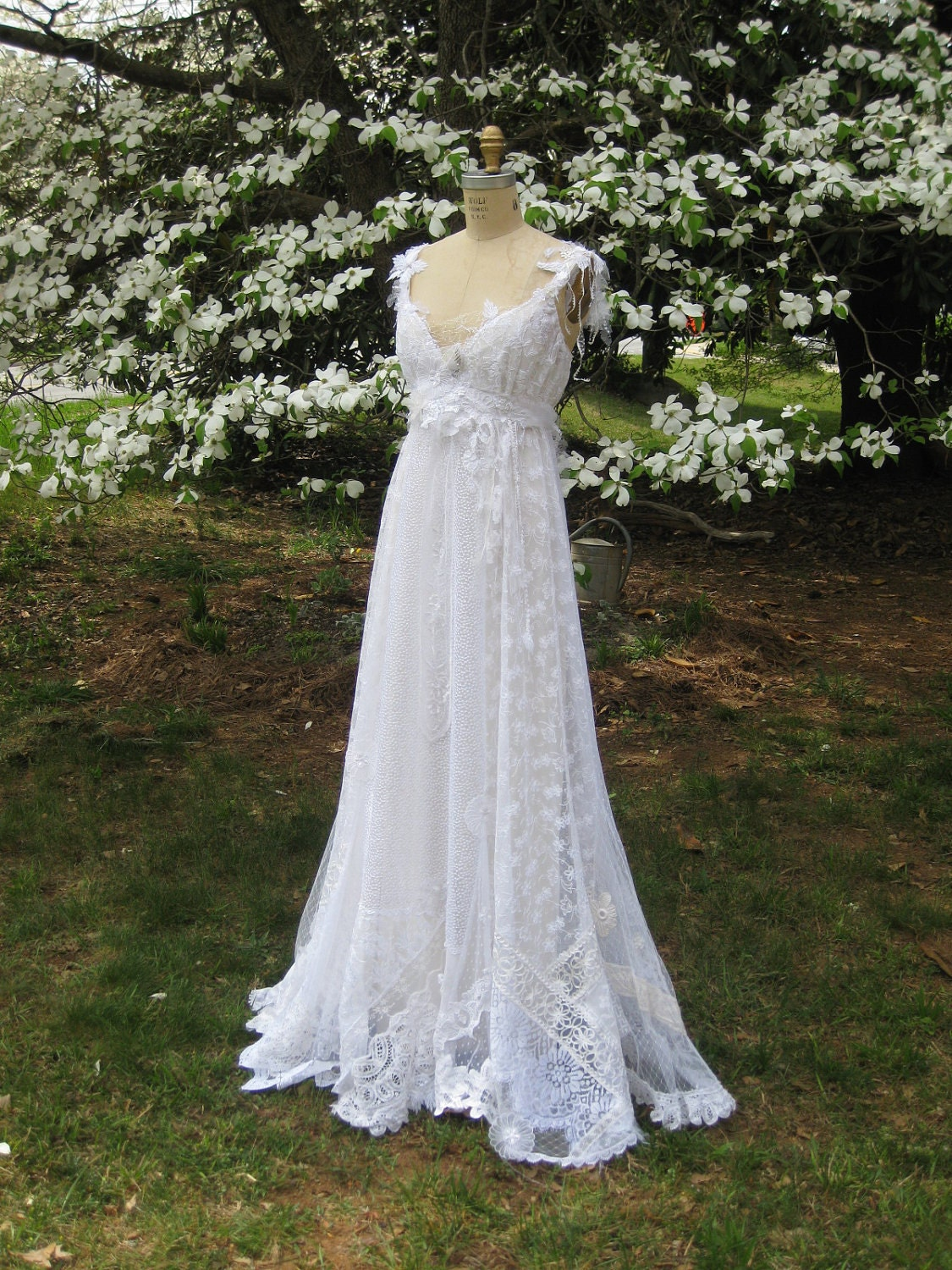 Hippie lace collage gown one of a kind boho wedding dress for Hippie dresses for weddings