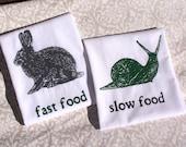 Block Printed Slow Food & Fast Food Dish Towels