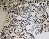 Black Flourish Natural Stone Coasters Vintage Flourish  Print Set of 4 Tile Coasters