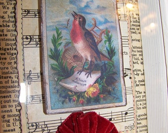 Handmade Bird Collage Framed Bird Art Original Bird Art Vintage Bird Collage Vintage Collage