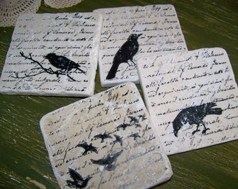 Crow Stone Coasters Vintage Script and BIRDS Natural Marble Coasters Vintage Crow Raven Natural History Crow Coasters